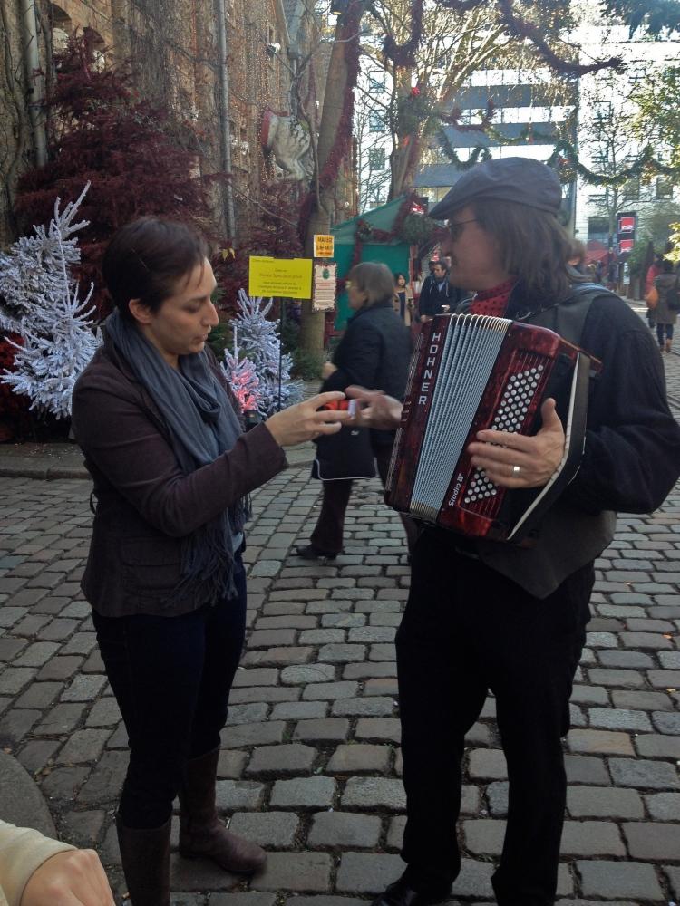 Sarah and accordion player