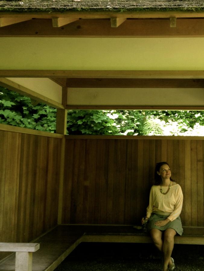 Girl in a Japanese garden