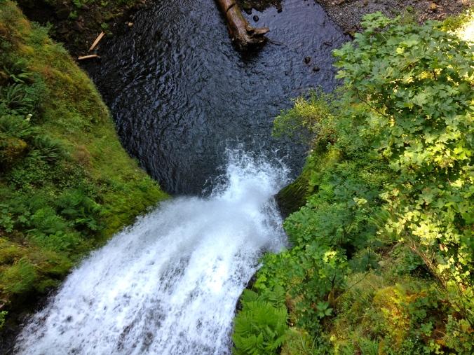 Looking down from Multnomah Falls bridge