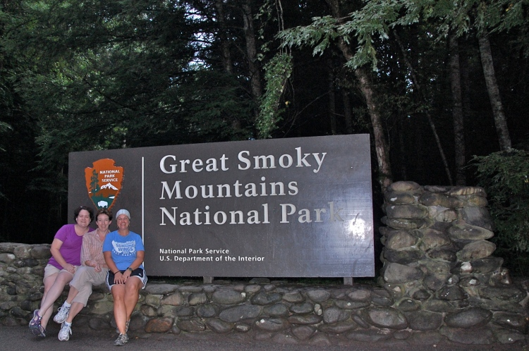 Friends at the gate to the Smoky Mountains