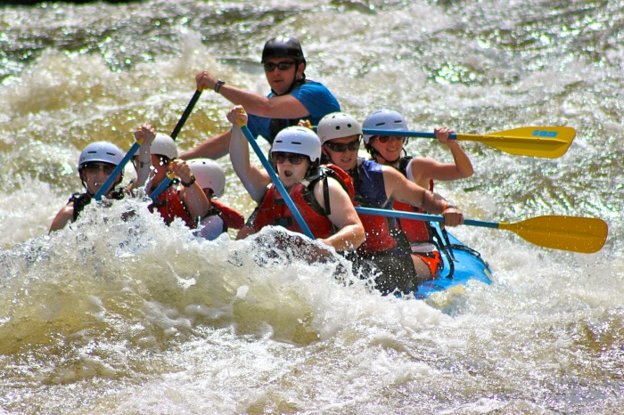 Keep your mouth closed when white water rafting